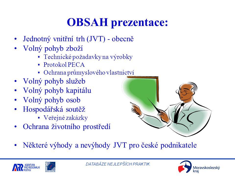 OBSAH prezentace: Jednotný vnitřní trh (JVT) - obecně