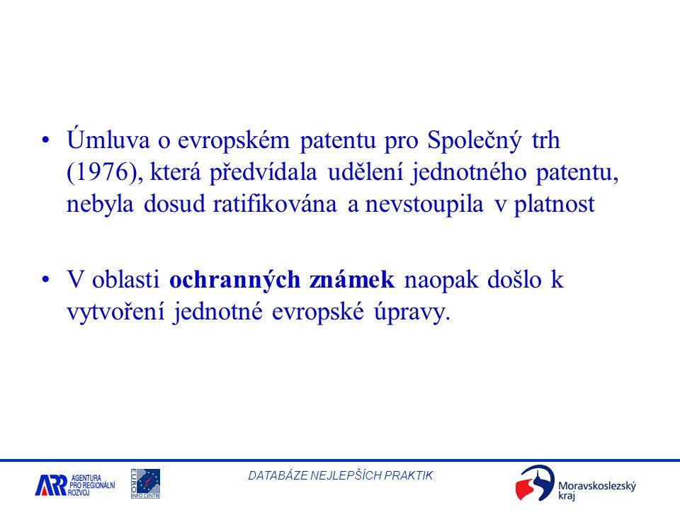 Úmluva o evropském patentu pro Společný trh (1976), která předvídala udělení jednotného patentu, nebyla dosud ratifikována a nevstoupila v platnost