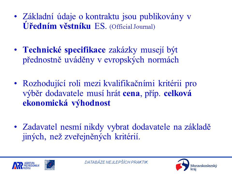 Základní údaje o kontraktu jsou publikovány v Úředním věstníku ES