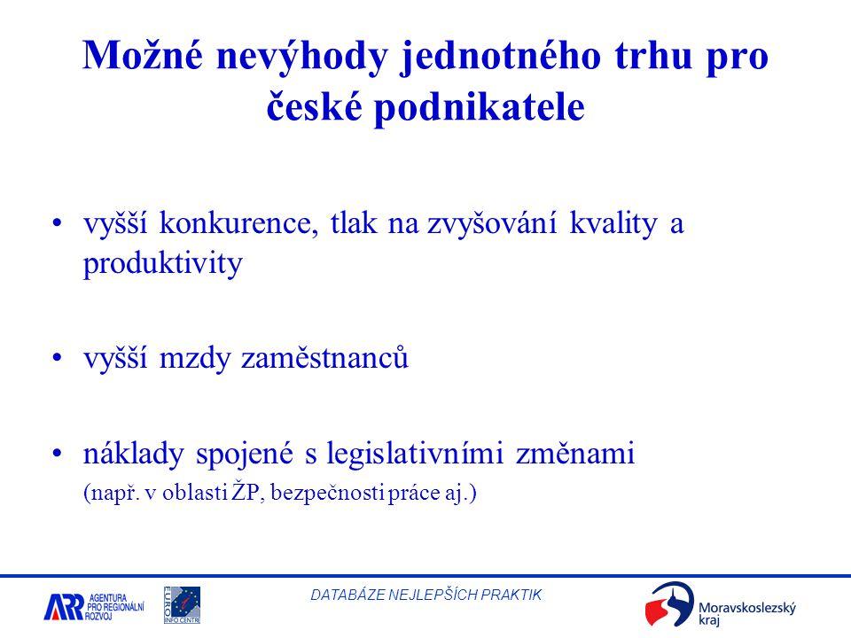 Možné nevýhody jednotného trhu pro české podnikatele