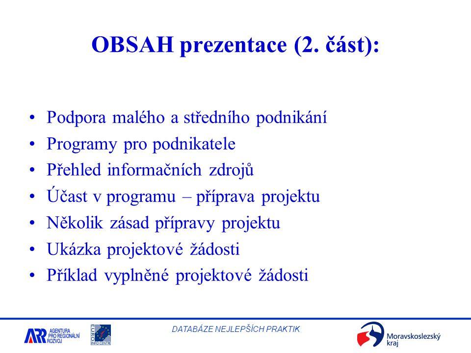 OBSAH prezentace (2. část):