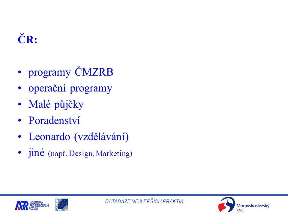 ČR: programy ČMZRB. operační programy. Malé půjčky.