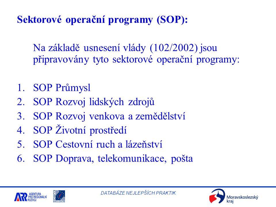 Sektorové operační programy (SOP):