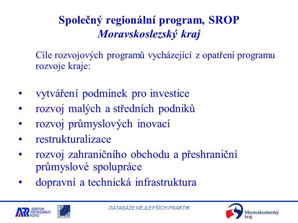 Společný regionální program, SROP Moravskoslezský kraj