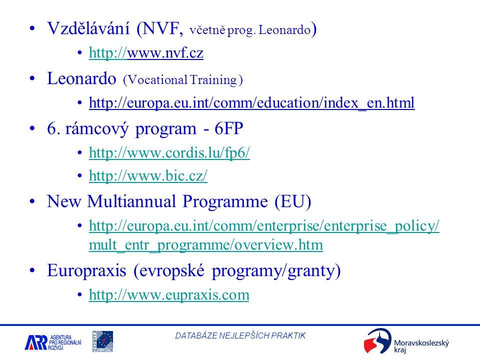 Vzdělávání (NVF, včetně prog. Leonardo)