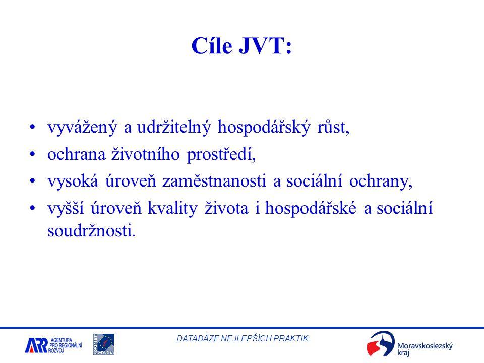 Cíle JVT: vyvážený a udržitelný hospodářský růst,