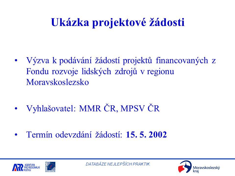 Ukázka projektové žádosti