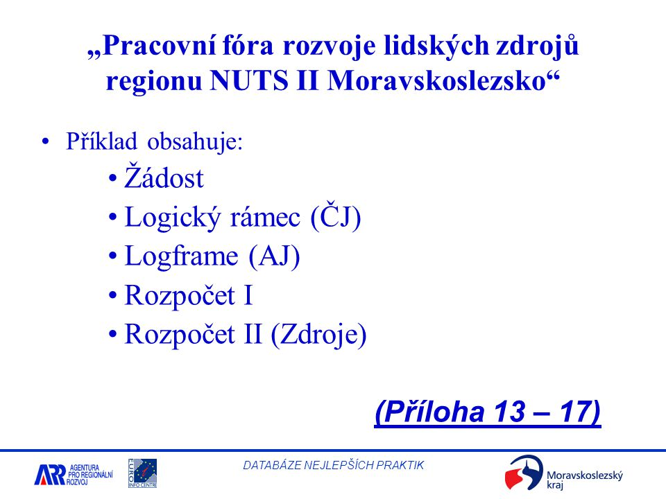 """Pracovní fóra rozvoje lidských zdrojů regionu NUTS II Moravskoslezsko"