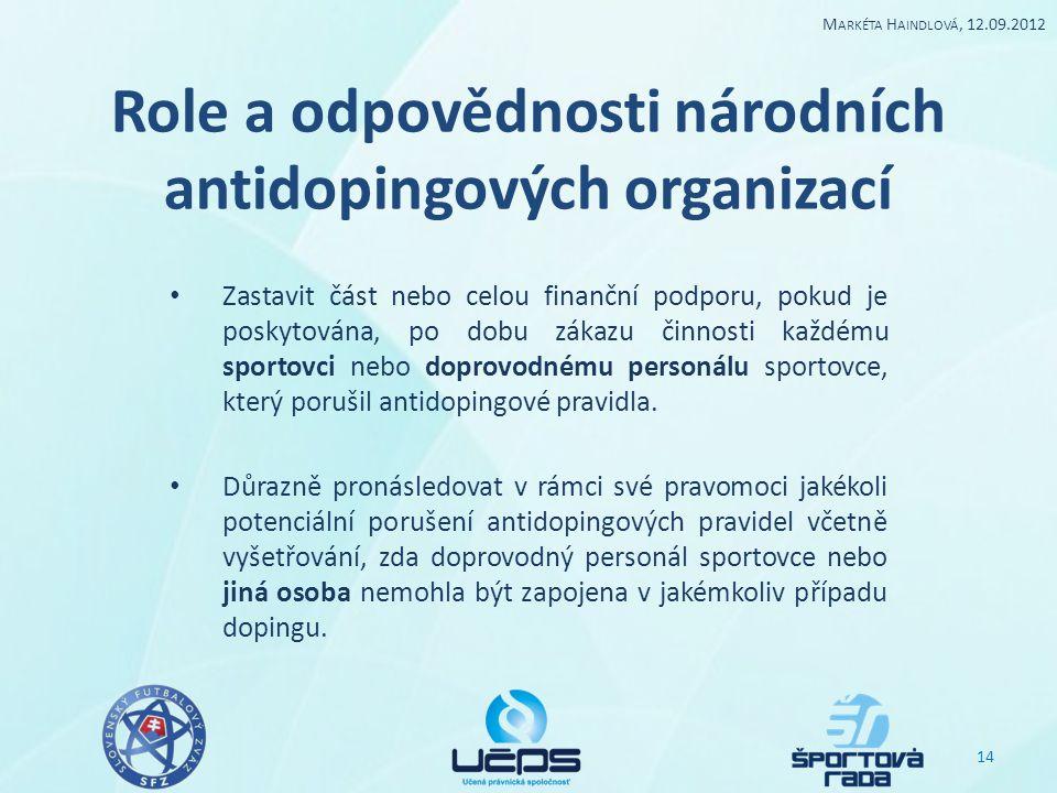 Role a odpovědnosti národních antidopingových organizací