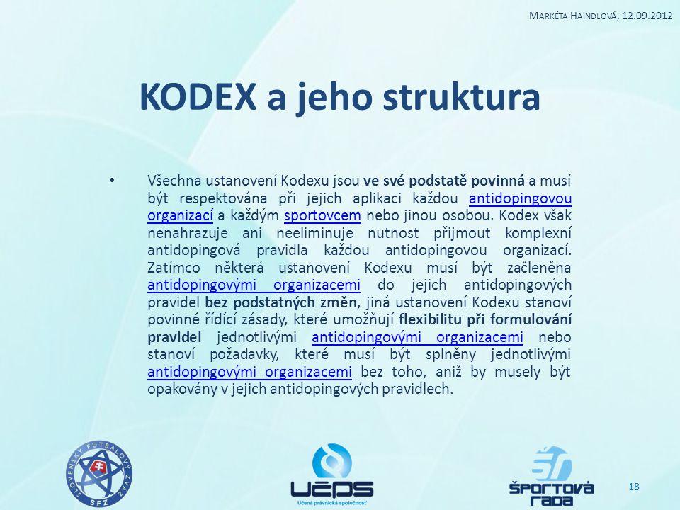 Markéta Haindlová, 12.09.2012 KODEX a jeho struktura.