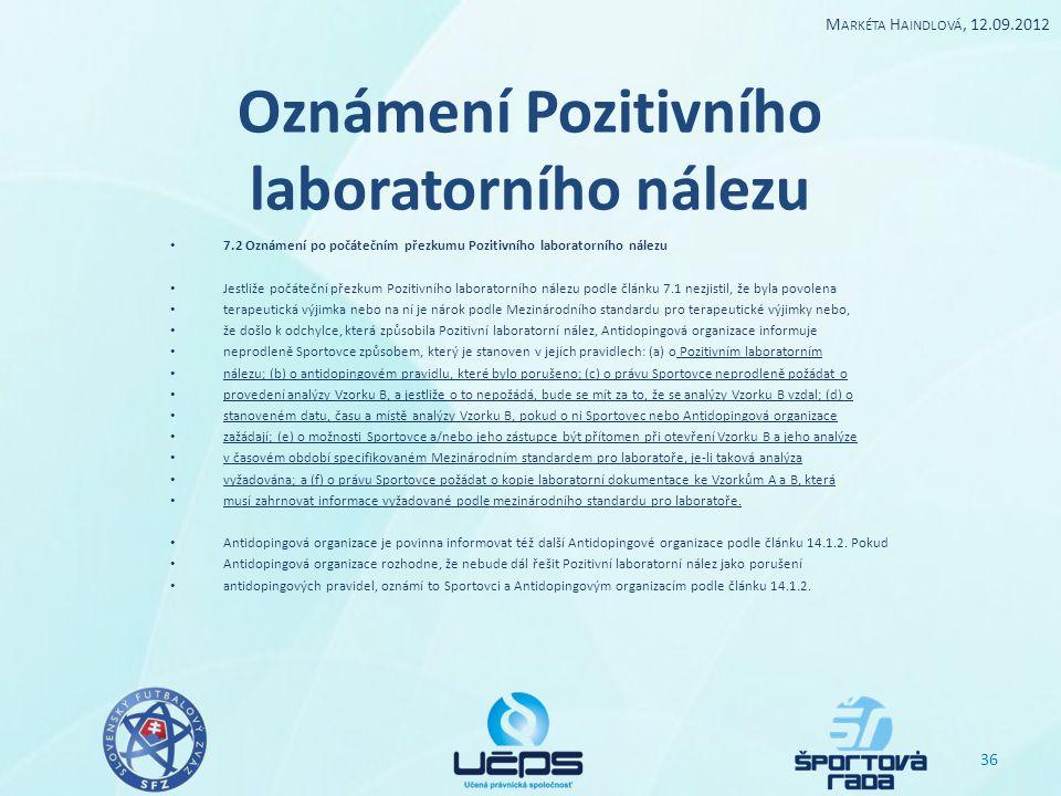 Oznámení Pozitivního laboratorního nálezu