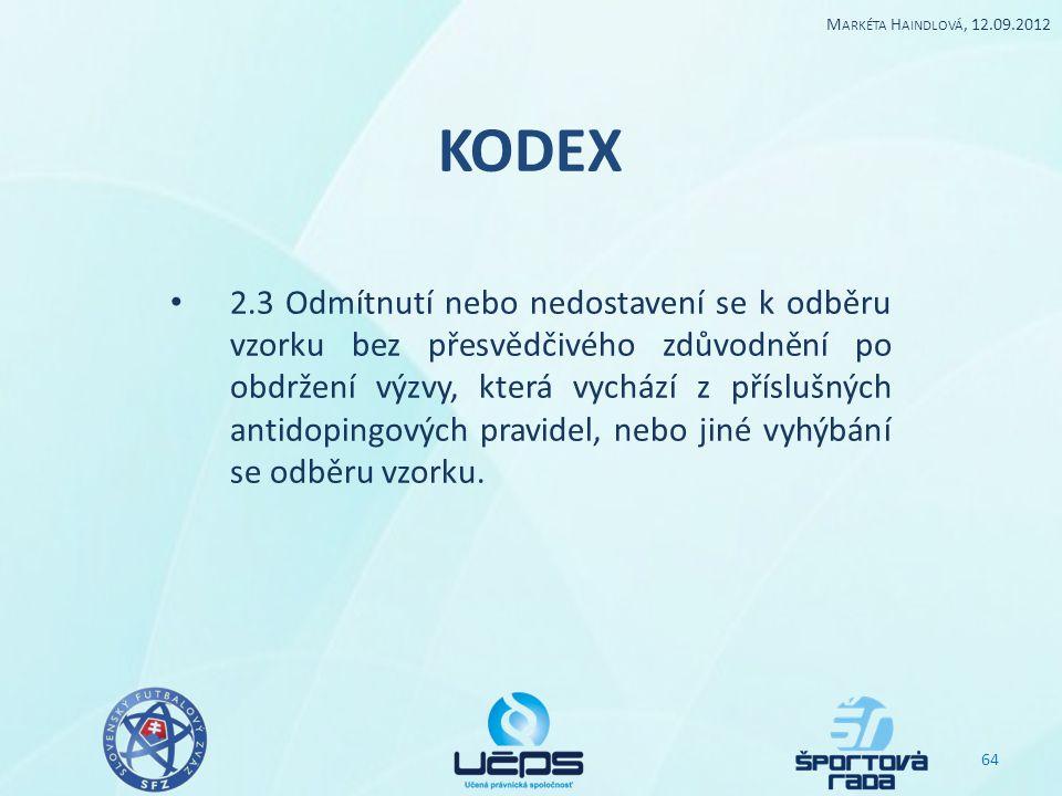Markéta Haindlová, 12.09.2012 KODEX.