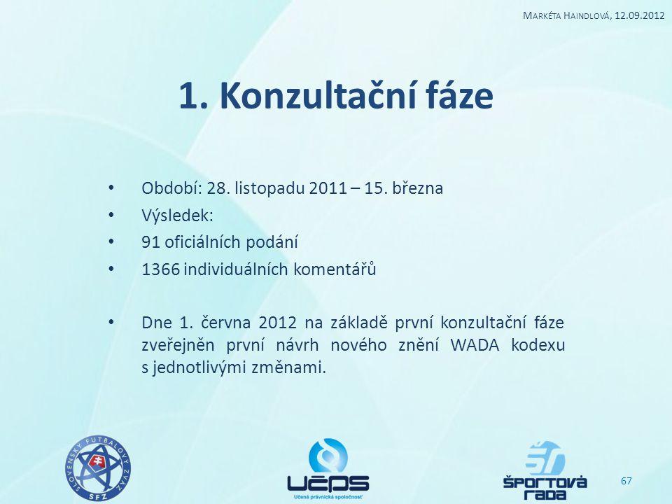 1. Konzultační fáze Období: 28. listopadu 2011 – 15. března Výsledek: