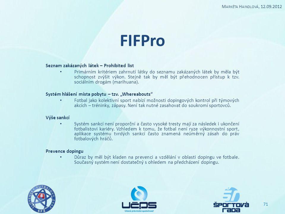 FIFPro Seznam zakázaných látek – Prohibited list