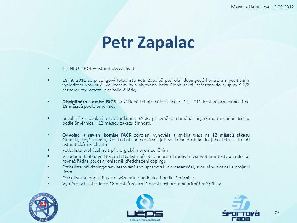 Petr Zapalac Markéta Haindlová, 12.09.2012