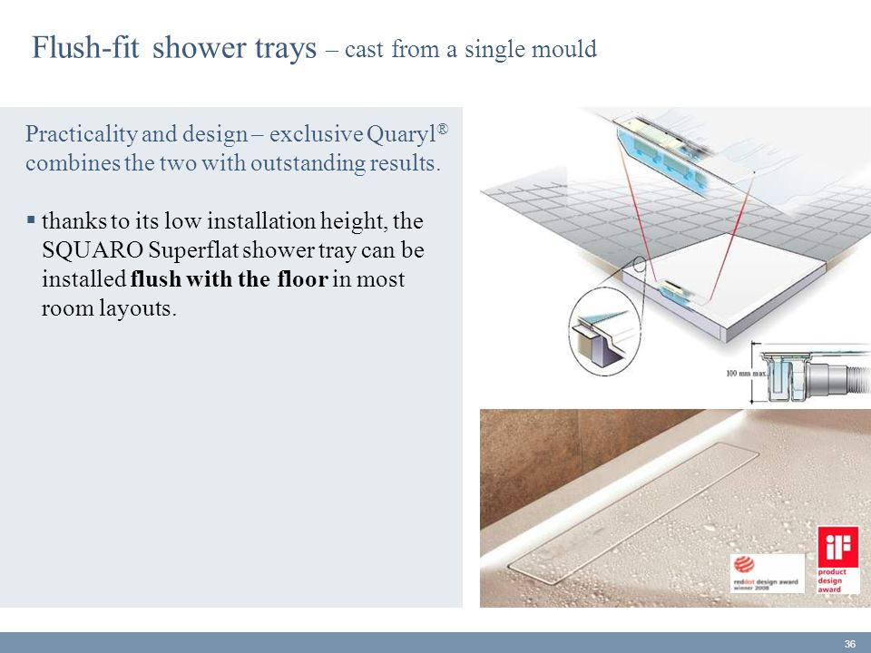 Flush-fit shower trays – cast from a single mould