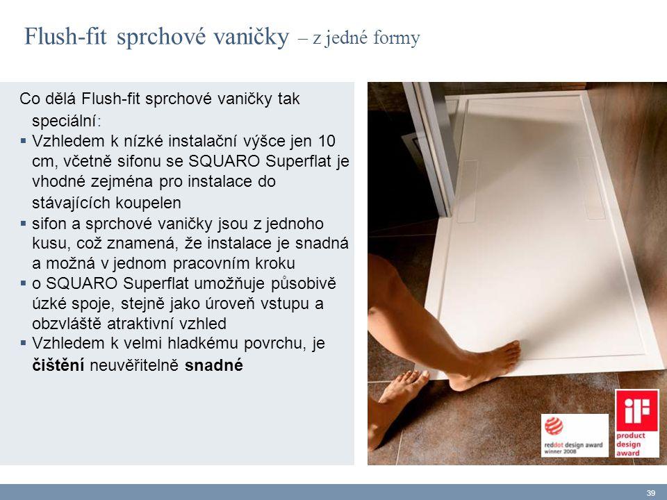 Flush-fit sprchové vaničky – z jedné formy