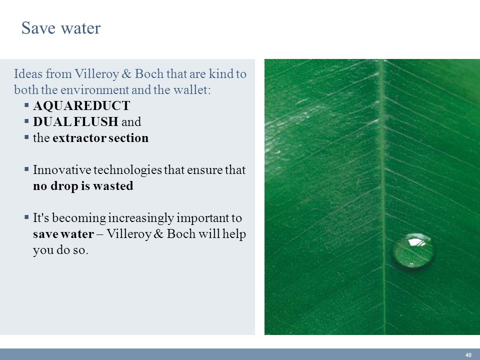 Save water Ideas from Villeroy & Boch that are kind to