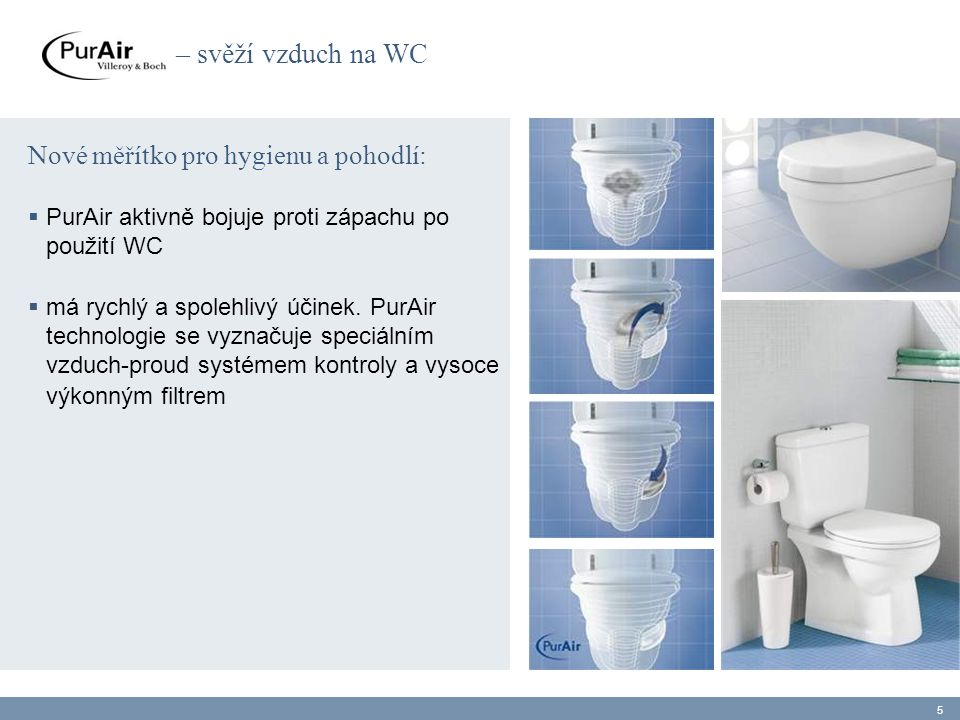 – svěží vzduch na WC Nové měřítko pro hygienu a pohodlí: