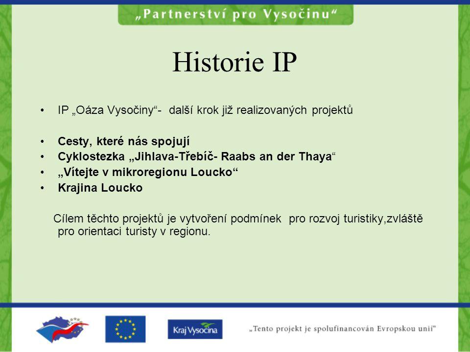"""Historie IP IP """"Oáza Vysočiny - další krok již realizovaných projektů"""