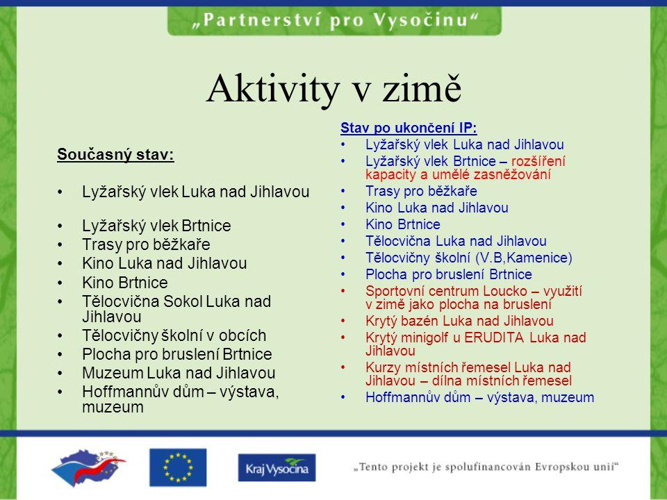 Aktivity v zimě Současný stav: Lyžařský vlek Luka nad Jihlavou