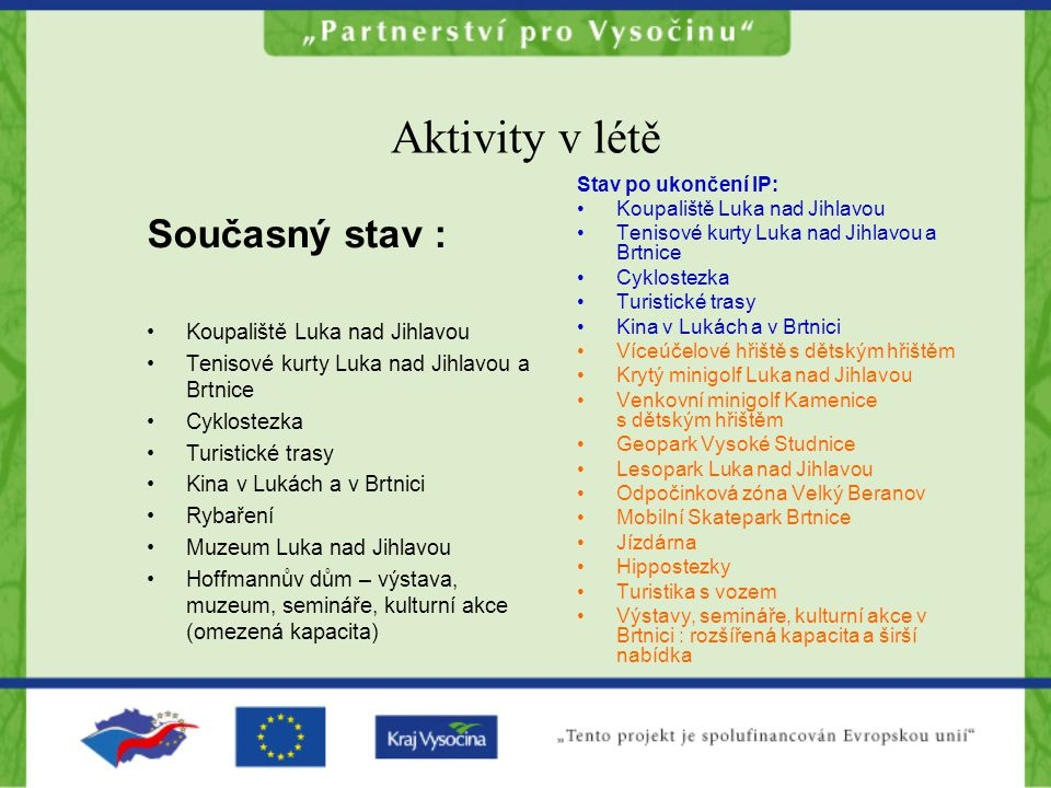 Aktivity v létě Současný stav : Koupaliště Luka nad Jihlavou