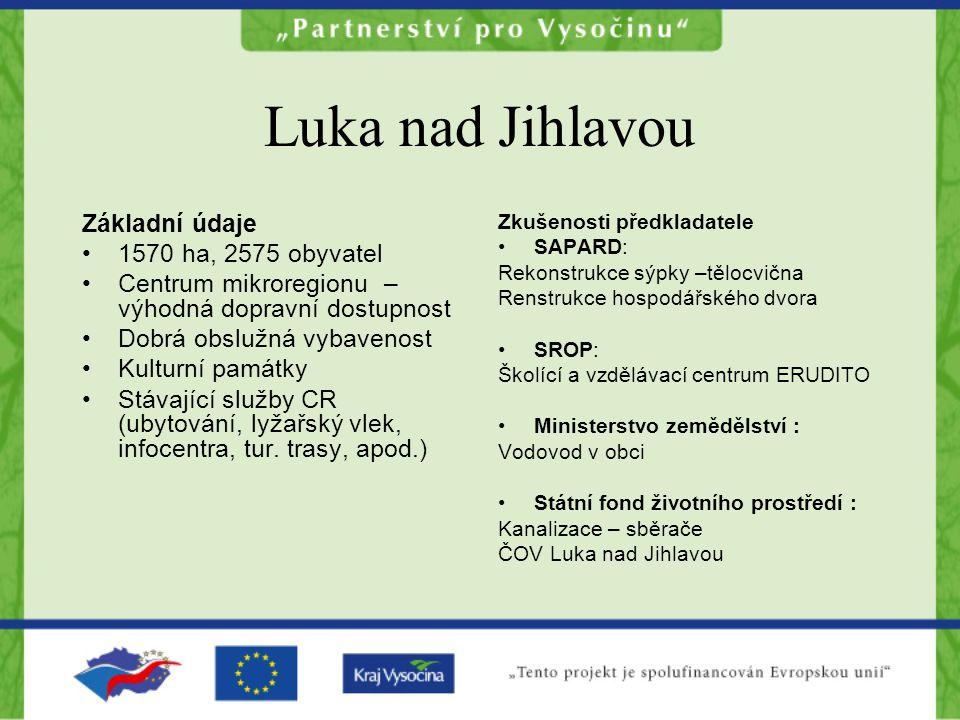 Luka nad Jihlavou Základní údaje 1570 ha, 2575 obyvatel
