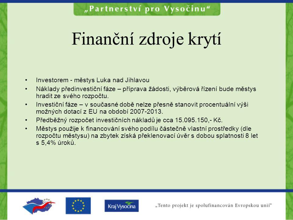 Finanční zdroje krytí Investorem - městys Luka nad Jihlavou