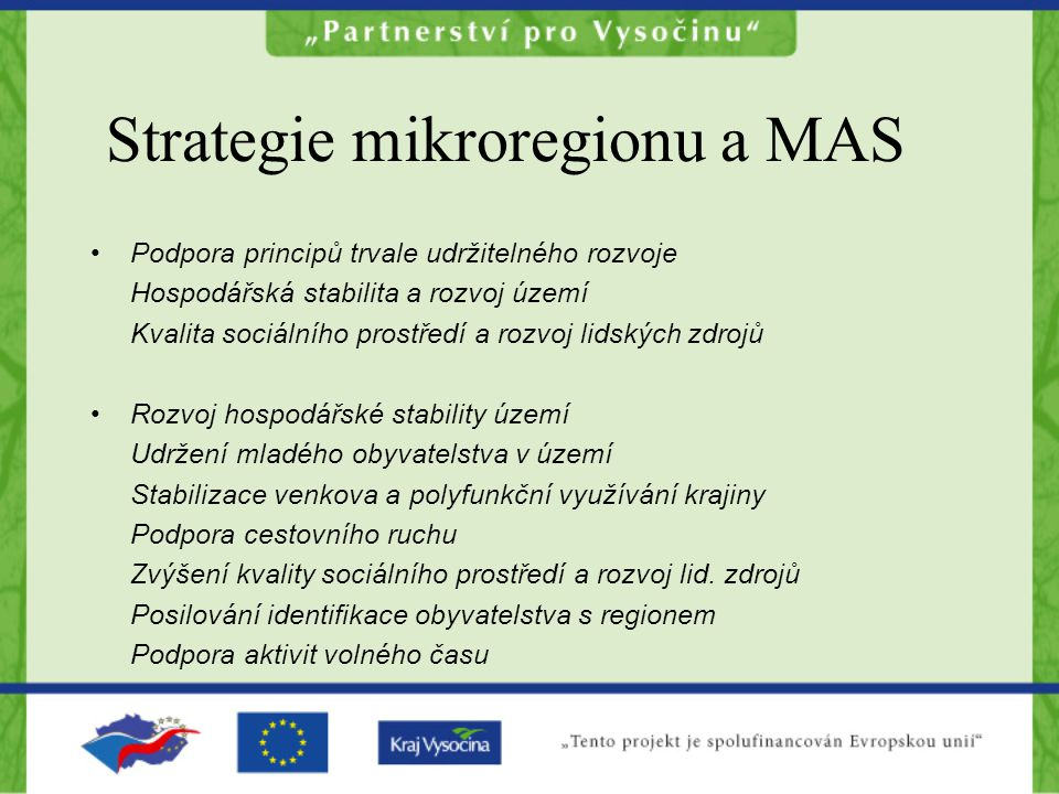 Strategie mikroregionu a MAS