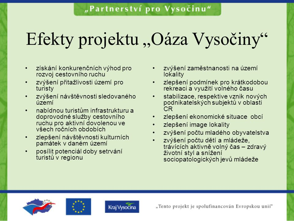"""Efekty projektu """"Oáza Vysočiny"""