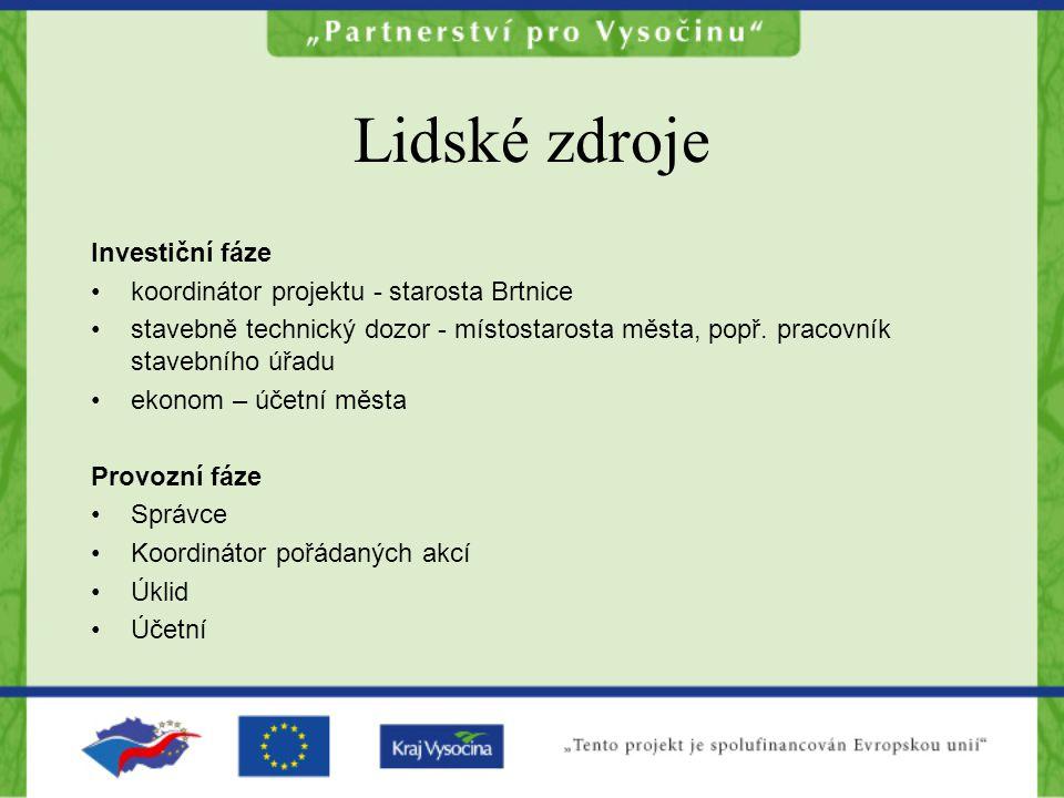 Lidské zdroje Investiční fáze koordinátor projektu - starosta Brtnice
