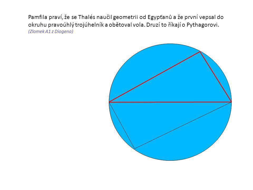 Pamfila praví, že se Thalés naučil geometrii od Egypťanů a že první vepsal do okruhu pravoúhlý trojúhelník a obětoval vola. Druzí to říkají o Pythagorovi.