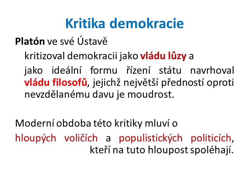 Kritika demokracie Platón ve své Ústavě