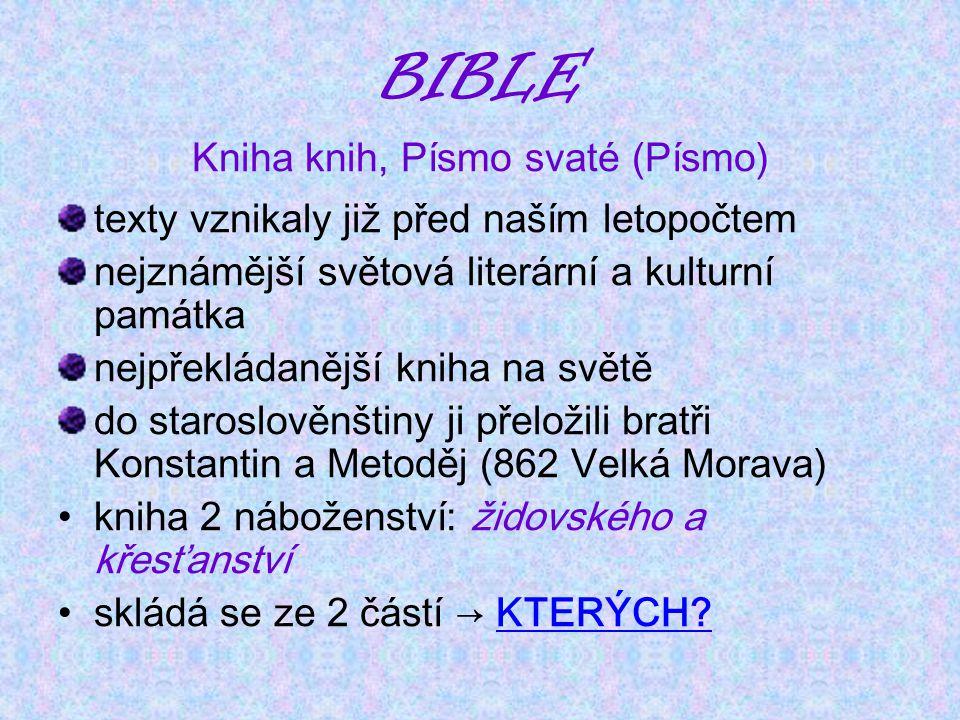 Kniha knih, Písmo svaté (Písmo)