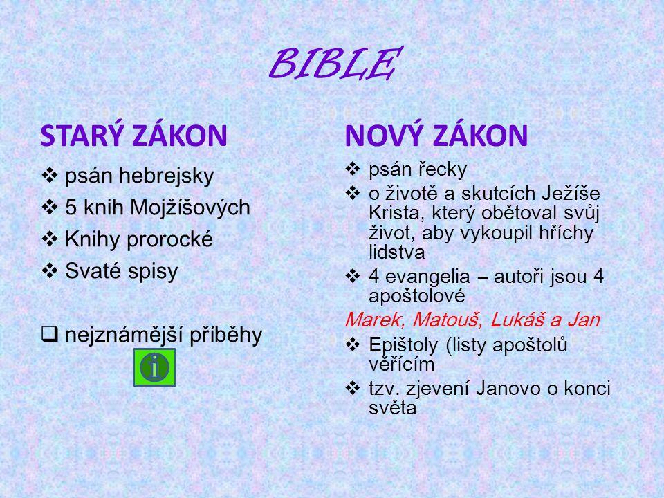 bible Starý zákon Nový zákon psán hebrejsky 5 knih Mojžíšových