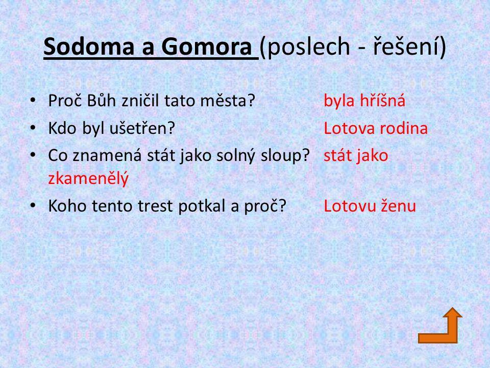 Sodoma a Gomora (poslech - řešení)