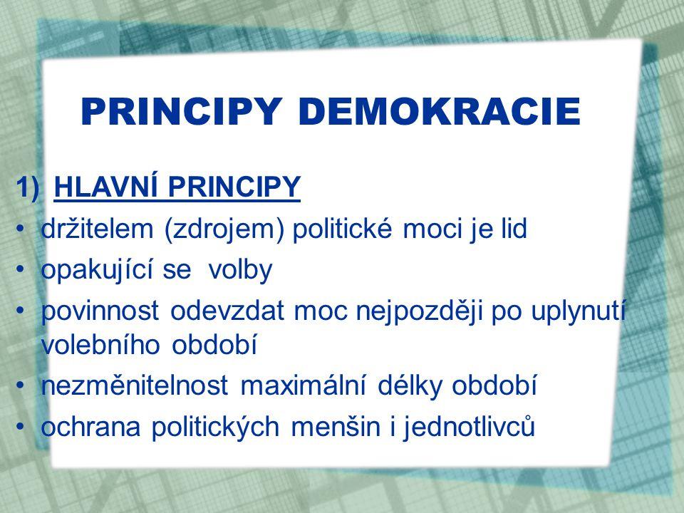 PRINCIPY DEMOKRACIE HLAVNÍ PRINCIPY