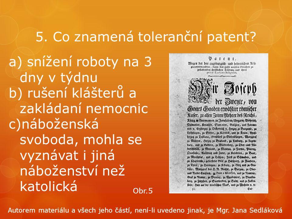 5. Co znamená toleranční patent