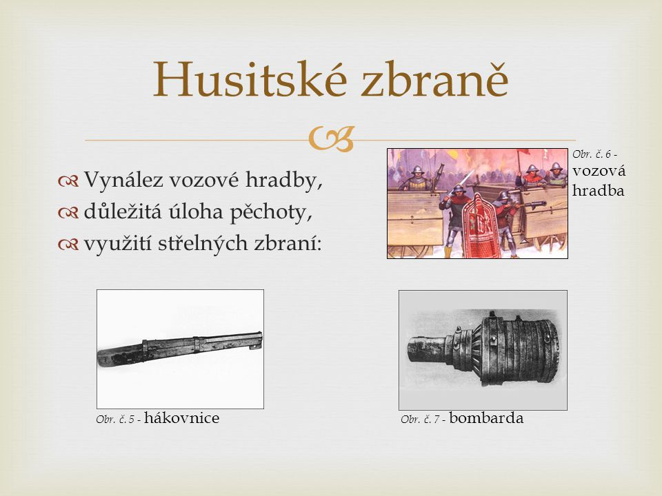 Husitské zbraně Vynález vozové hradby, důležitá úloha pěchoty,