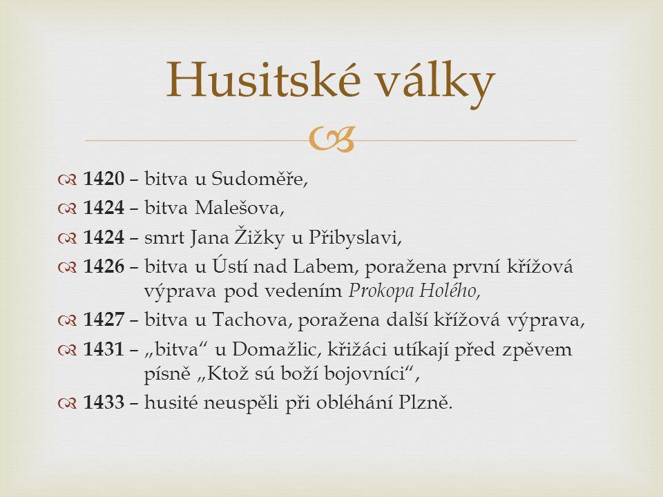 Husitské války 1420 – bitva u Sudoměře, 1424 – bitva Malešova,