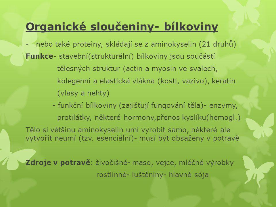 Organické sloučeniny- bílkoviny