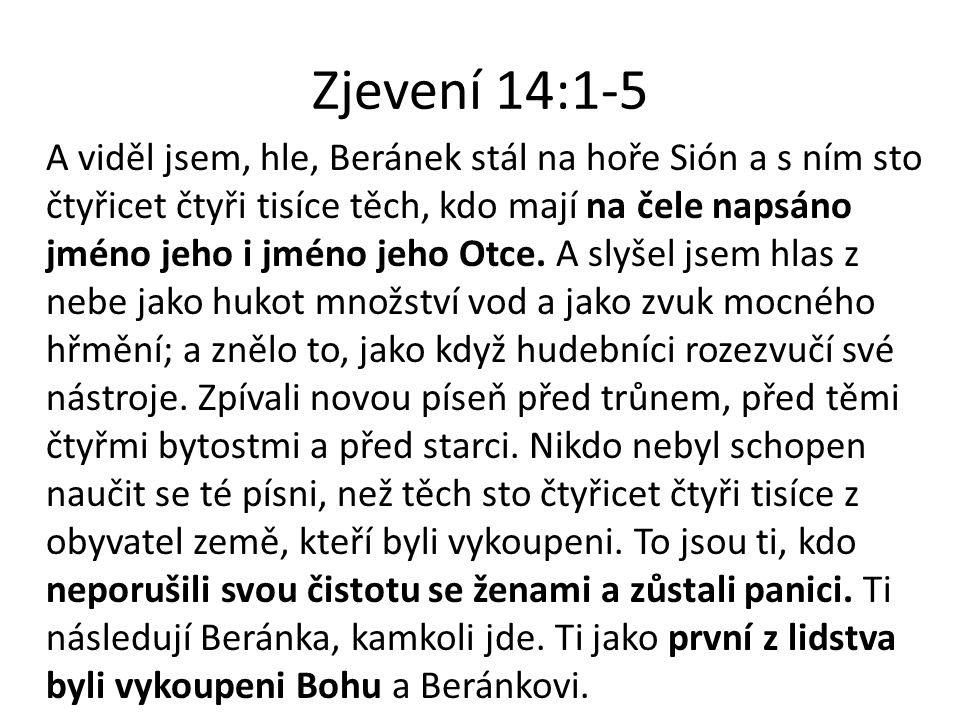 Zjevení 14:1-5