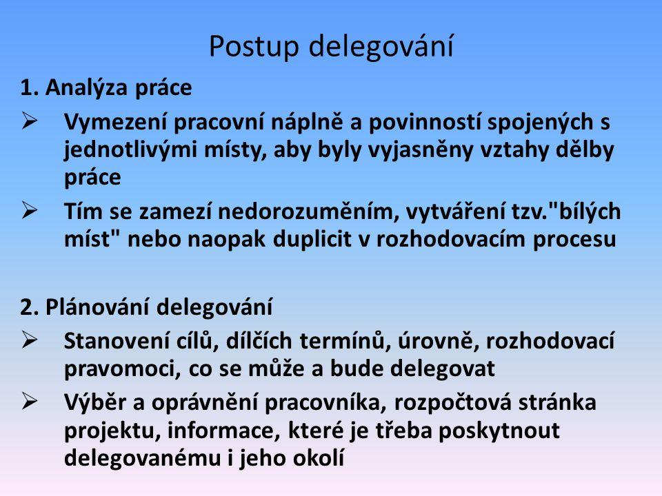 Postup delegování 1. Analýza práce