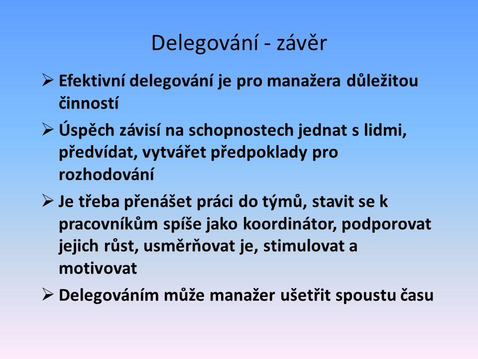 Delegování - závěr Efektivní delegování je pro manažera důležitou činností.