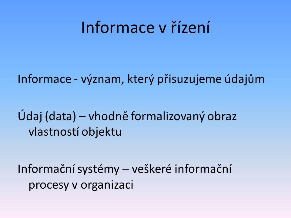 Informace v řízení Informace - význam, který přisuzujeme údajům