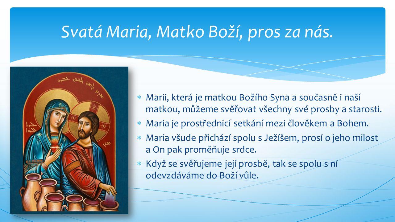 Svatá Maria, Matko Boží, pros za nás.
