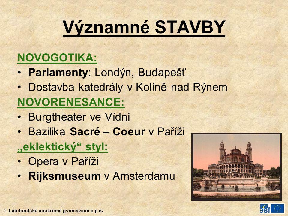 Významné STAVBY NOVOGOTIKA: Parlamenty: Londýn, Budapešť