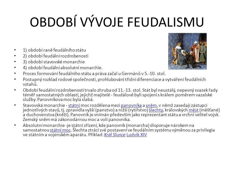 OBDOBÍ VÝVOJE FEUDALISMU