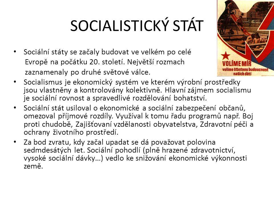 SOCIALISTICKÝ STÁT Sociální státy se začaly budovat ve velkém po celé