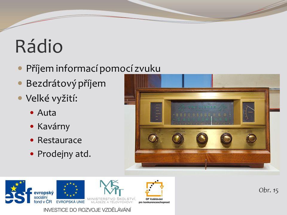 Rádio Příjem informací pomocí zvuku Bezdrátový příjem Velké vyžití: